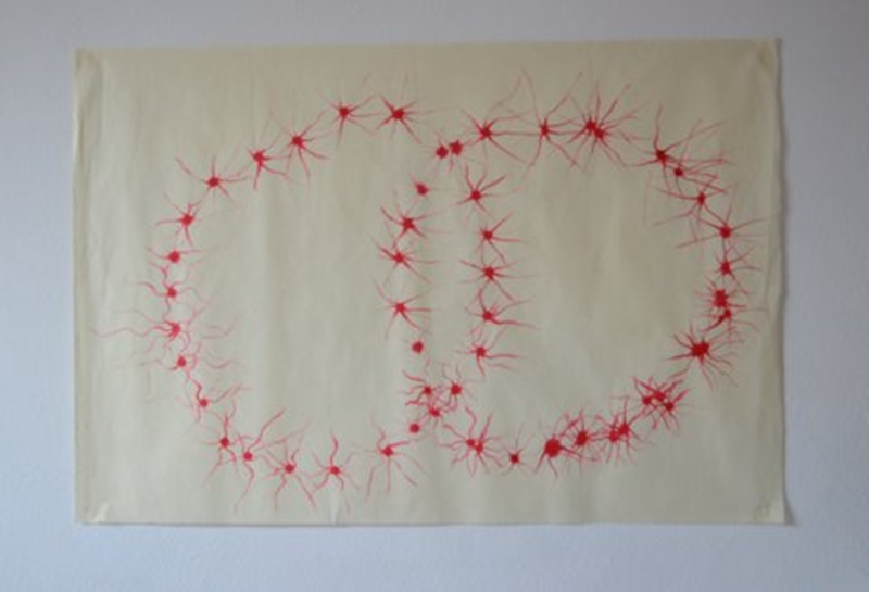 Vesca Piscis, ink on Japanese paper, 63cms x 93cms, 2012